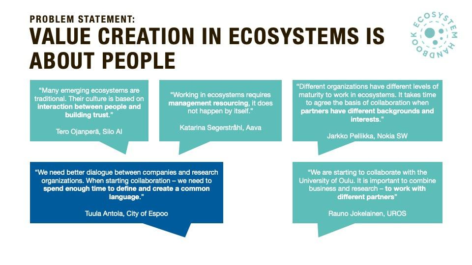 Value Creation in Ecosystem is about people