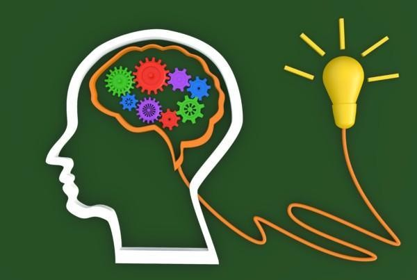 Brain and Lamp idea innovation sign concept idea is begin , gree